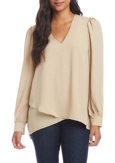 Karen Kane Shirred Sleeve Crossover Top