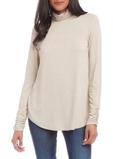 Karen Kane Shirred Sleeve Turtleneck Top