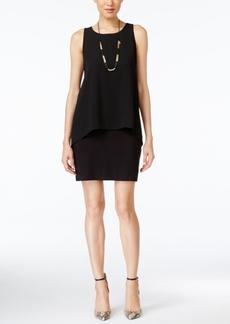 Karen Kane Sleeveless Chiffon-Overlay Sheath Dress