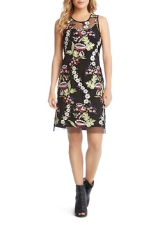 Karen Kane Sleeveless Embroidered-Overlay Dress