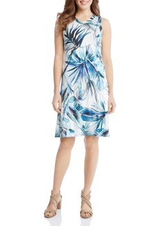 Karen Kane Sleeveless Tropical Print Swing Dress