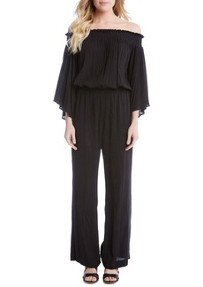 Karen Kane Smocked Off the Shoulder Jumpsuit