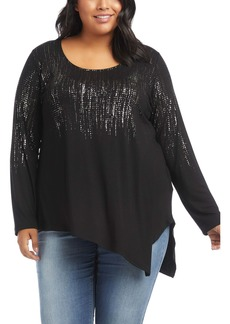 Karen Kane Sparkle Asymmetrical Hem Top (Plus Size)