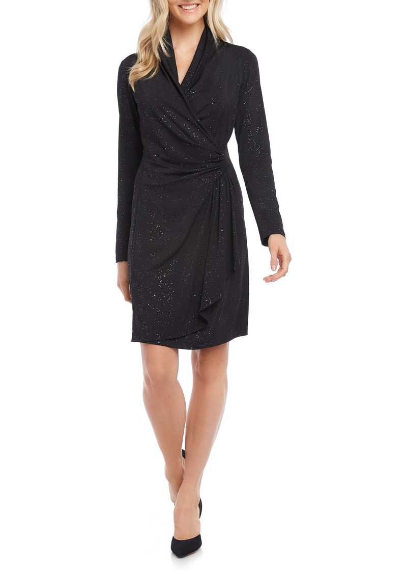 Karen Kane Sparkle Knit Long Sleeve Faux Wrap Dress