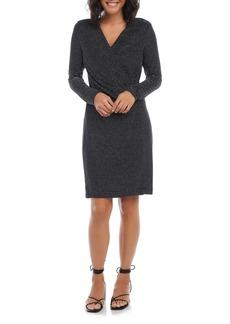 Karen Kane Sparkle Stripe Long Sleeve Faux Wrap Dress