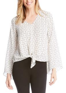 Karen Kane Star Print Front Tie Blouse