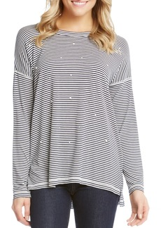 Karen Kane Stripe & Imitation Pearl Long Sleeve Tee