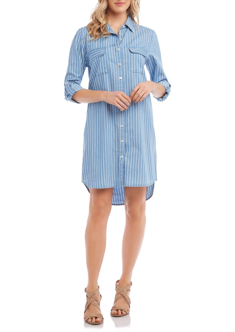 Karen Kane Stripe Chambray Shirtdress