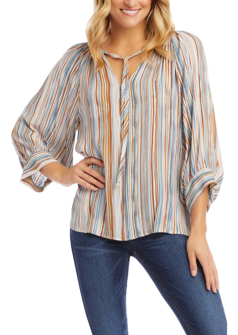 Karen Kane Stripe Peasant Top
