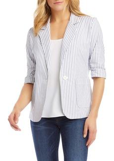 Karen Kane Stripe Ruched Sleeve Stretch Cotton Jacket
