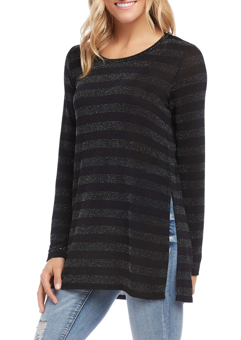 Karen Kane Stripe Sparkle Knit Top