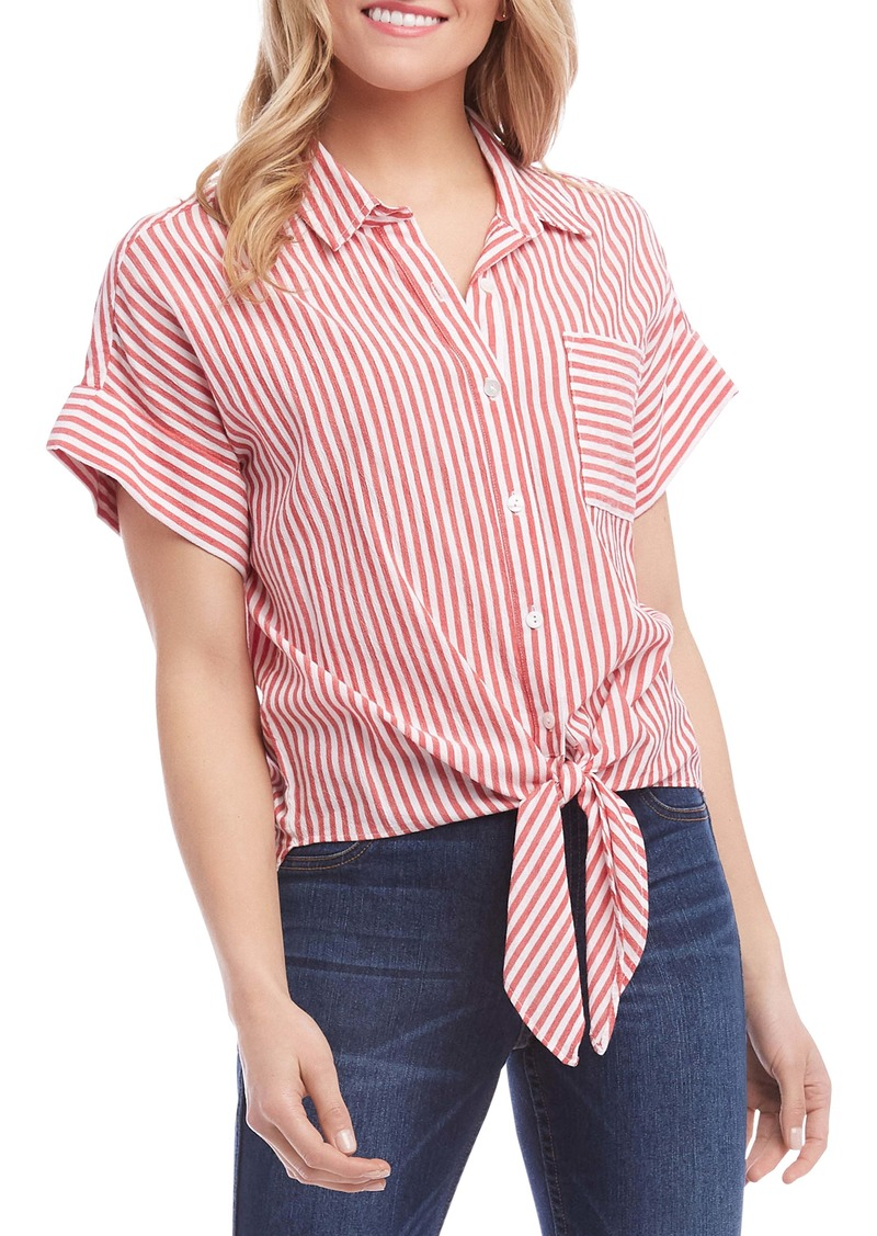 Karen Kane Stripe Tie Front Top