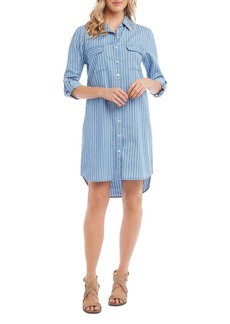 Karen Kane Striped Chambray Button-Down Shirt Dress