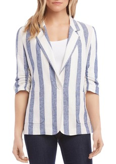 Karen Kane Striped Ruched-Sleeve Blazer