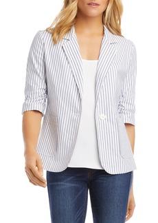 Karen Kane Striped Ruched-Sleeve Blazer