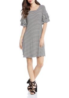 Karen Kane Striped Ruffle-Sleeve Dress