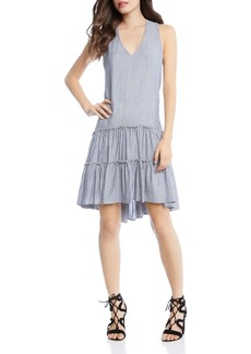 Karen Kane Striped Tiered Ruffle-Hem Dress