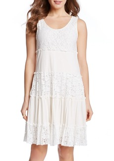 Karen Kane 'Tara' Tiered Lace A-Line Dress