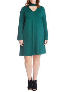 Karen Kane Taylor Choker Neck A-Line Dress (Plus Size)