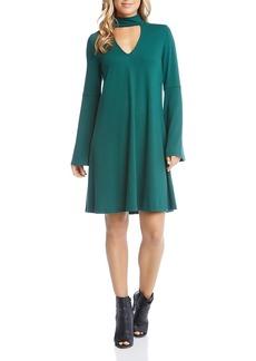 Karen Kane Taylor Choker Neck Bell Sleeve Dress