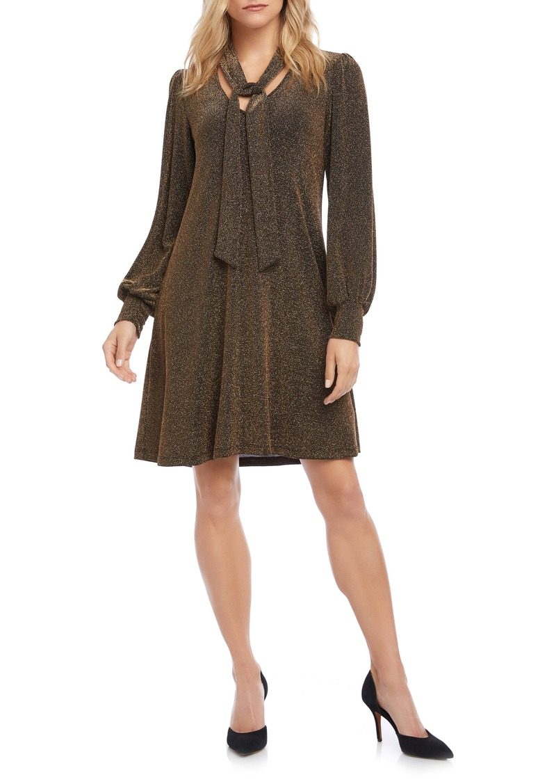 Karen Kane Taylor Long Sleeve Tie Neck Dress