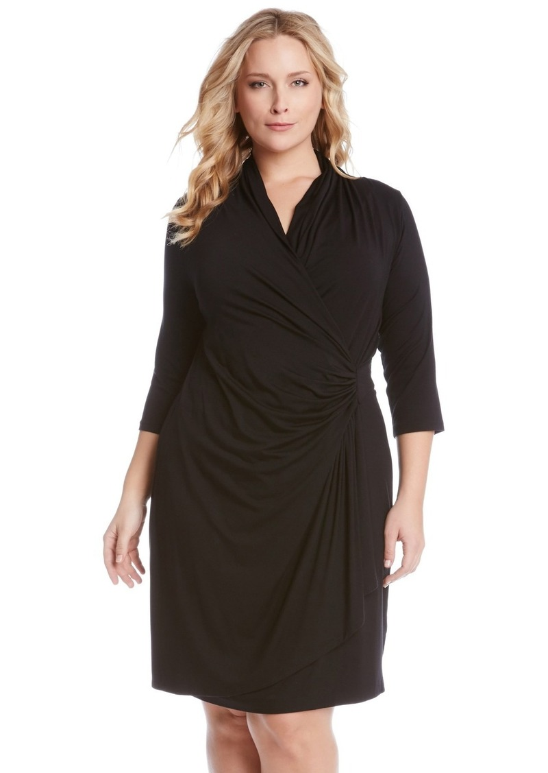 Three Quarter Sleeve Jersey Cascade Faux Wrap Dress (Plus Size)