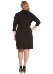 3aafbac3c99 ... Karen Kane Three Quarter Sleeve Jersey Cascade Faux Wrap Dress (Plus  Size)