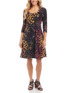 Karen Kane Tie Dye Burnout A-Line Dress