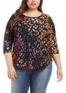 Karen Kane Tie Dye Burnout Leopard Spot Top (Plus Size)