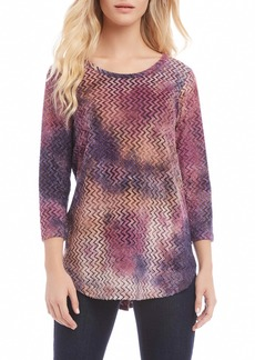 Karen Kane Tie Dye Burnout Shirttail Tee