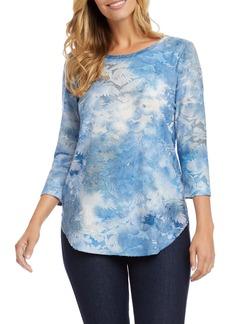 Karen Kane Tie Dye Burnout Shirttail Top