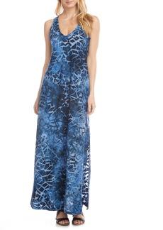 Karen Kane Tie Dye Burnout Side Slit Maxi Dress