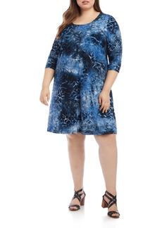 Karen Kane Tie Dye Geo Burnout A-Line Dress (Plus Size)
