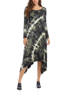 Karen Kane Tie Dye Long Sleeve Handkerchief Hem Dress