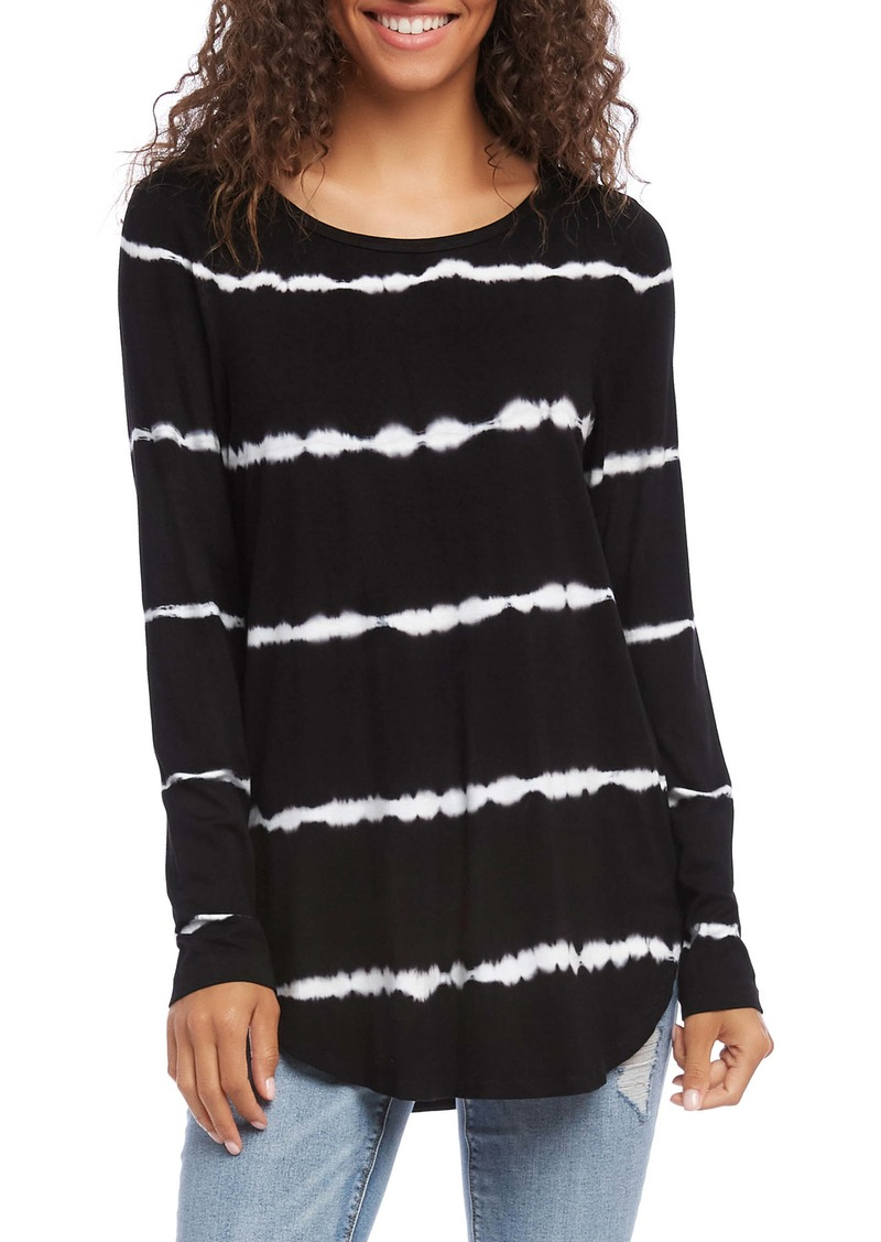 Karen Kane Tie-Dye Long Sleeve Shirttail Tee