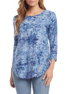 Karen Kane Tie-Dye Paisley Jacquard Shirttail Tee