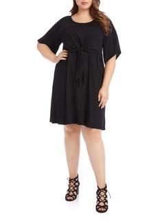 Karen Kane Tie Front A-Line Dress (Plus Size)