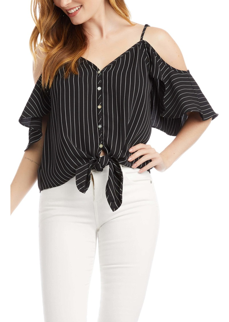 Karen Kane Tie Front Cold Shoulder Top