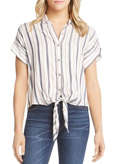 Karen Kane Tie-Front Striped Shirt