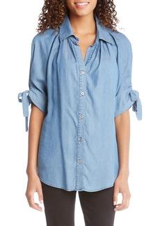Karen Kane Tie Sleeve Chambray Shirt