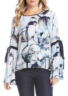 Karen Kane Tie Sleeve Floral Print Top