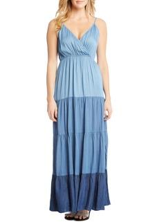 Karen Kane Tiered Chambray Maxi Dress
