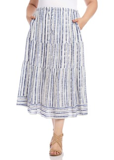 Karen Kane Tiered Midi Skirt (Plus Size)