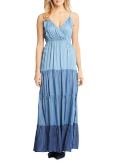 Karen Kane Tiered Ombr� Chambray Maxi Dress