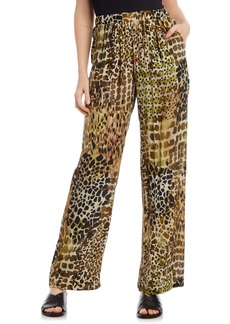Karen Kane Tropical Print Wide Leg Crepe Pants