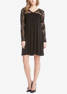 Karen Kane V-Neck Lace-Contrast Dress