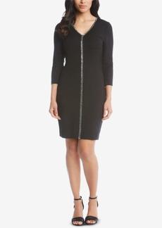 Karen Kane V-Neck Sparkle Sheath Dress