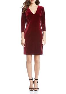 Karen Kane V-Neck Velvet Sheath Dress