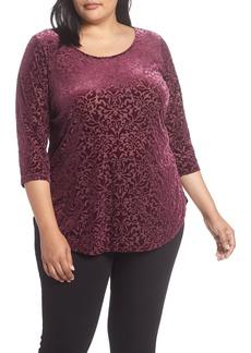 Karen Kane Velvet Burnout Blouse (Plus Size)
