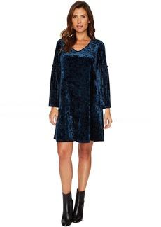 Karen Kane Velvet V-Neck Bell Sleeve Dress